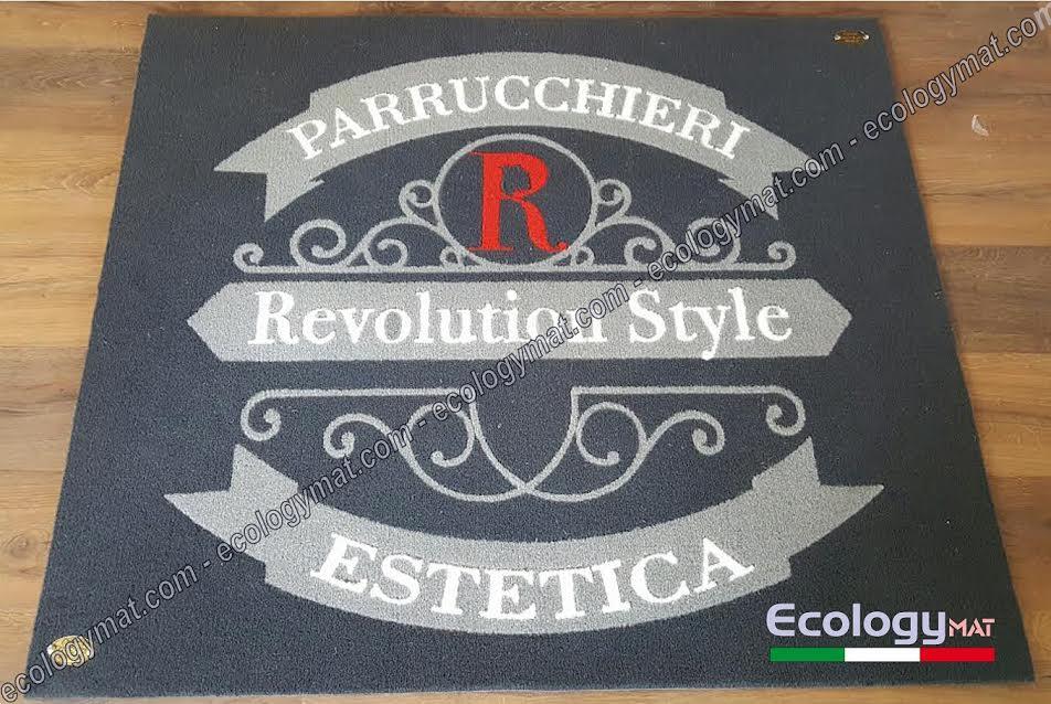 Tappeto con marchio Parrucchieri Revolution Style Estetica