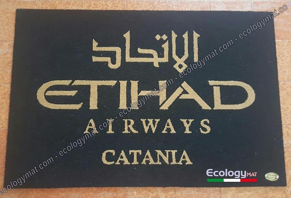 Tappeto personalizzato con marchio Etihad Airways Catania
