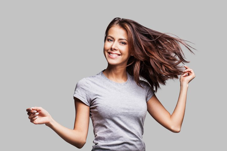 happy woman with healthy hair