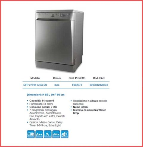 lavastoviglie da libera installazione