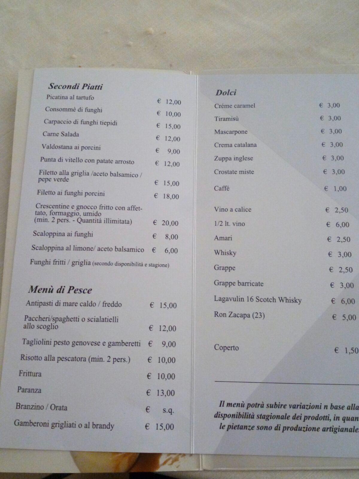 Secondi piatti,menu di pesce e postri