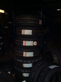 tyres stacked together