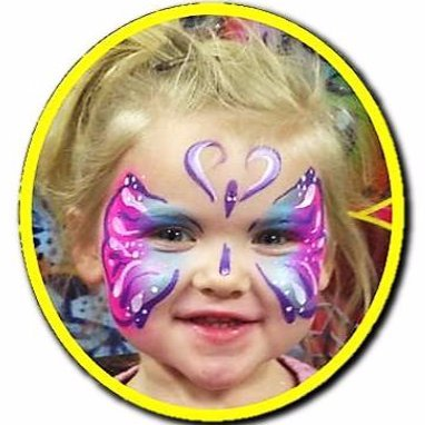 Butterfly face paint on girl