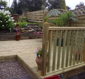 Garden landscaping - Dunfermline, Fife - Hunters Property Services - Timber Decking