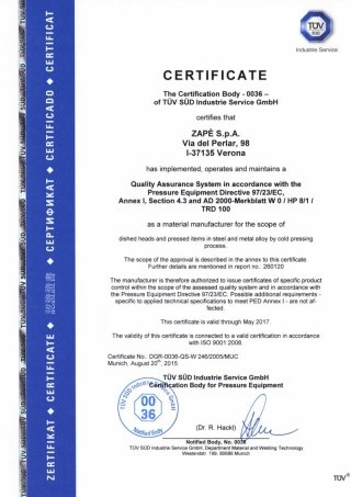 TESTING CERTIFICATION - PED AD 2000 W0