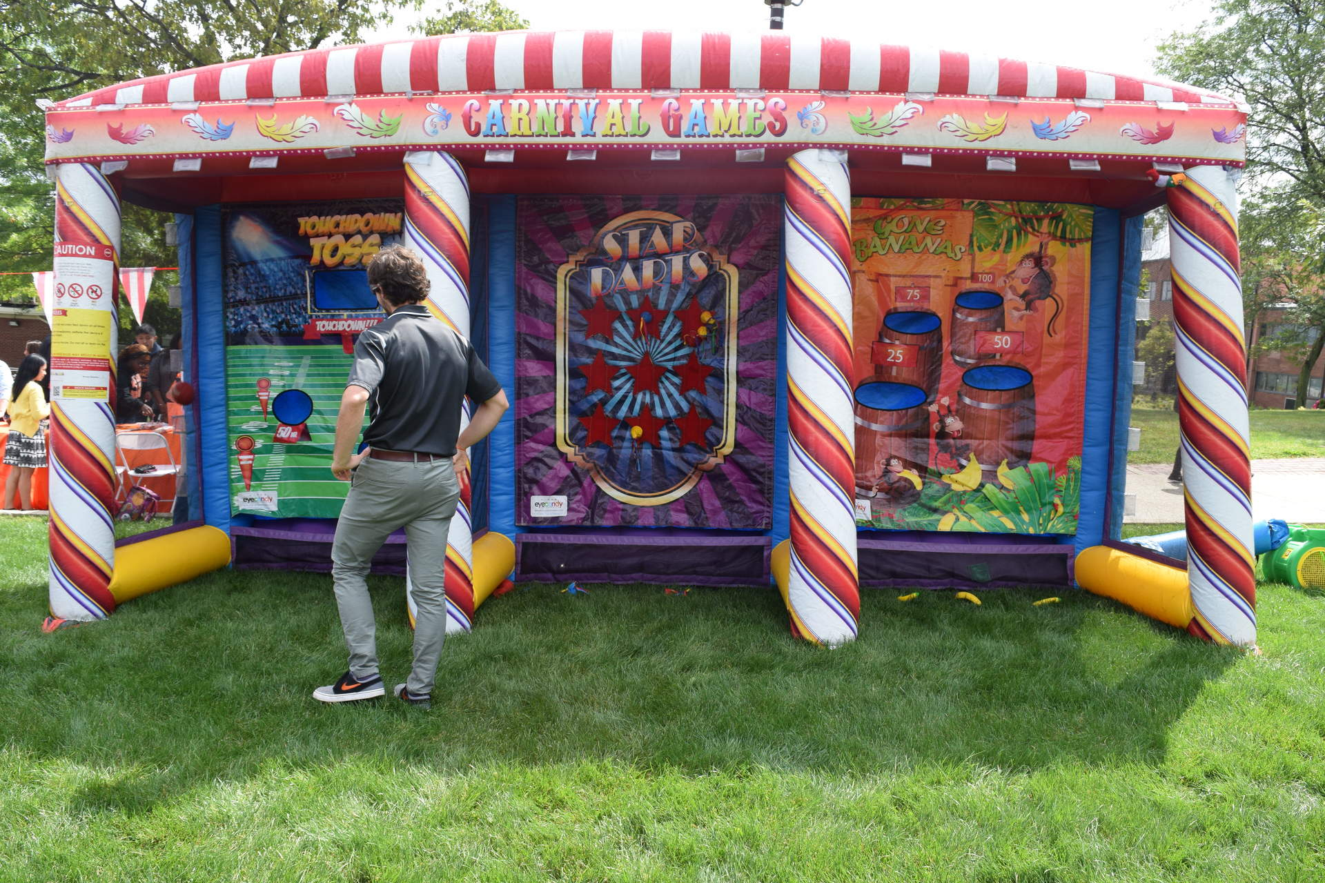 3 in 1 Inflatable Carnival Booth, Football Toss, Star Darts, Gone Bananas, Carnival Game, Carnival Booth, Carnival Tent