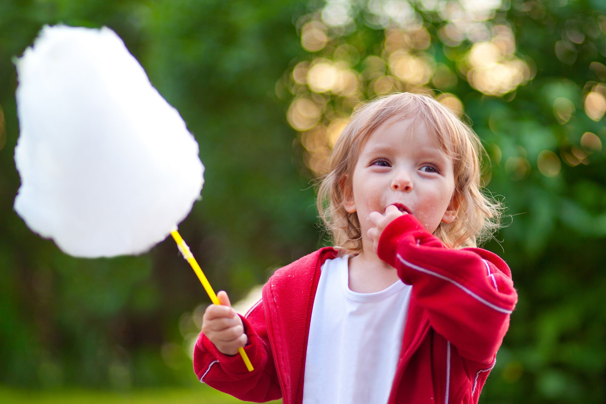Cotton candy on a stick being eaten by a small child