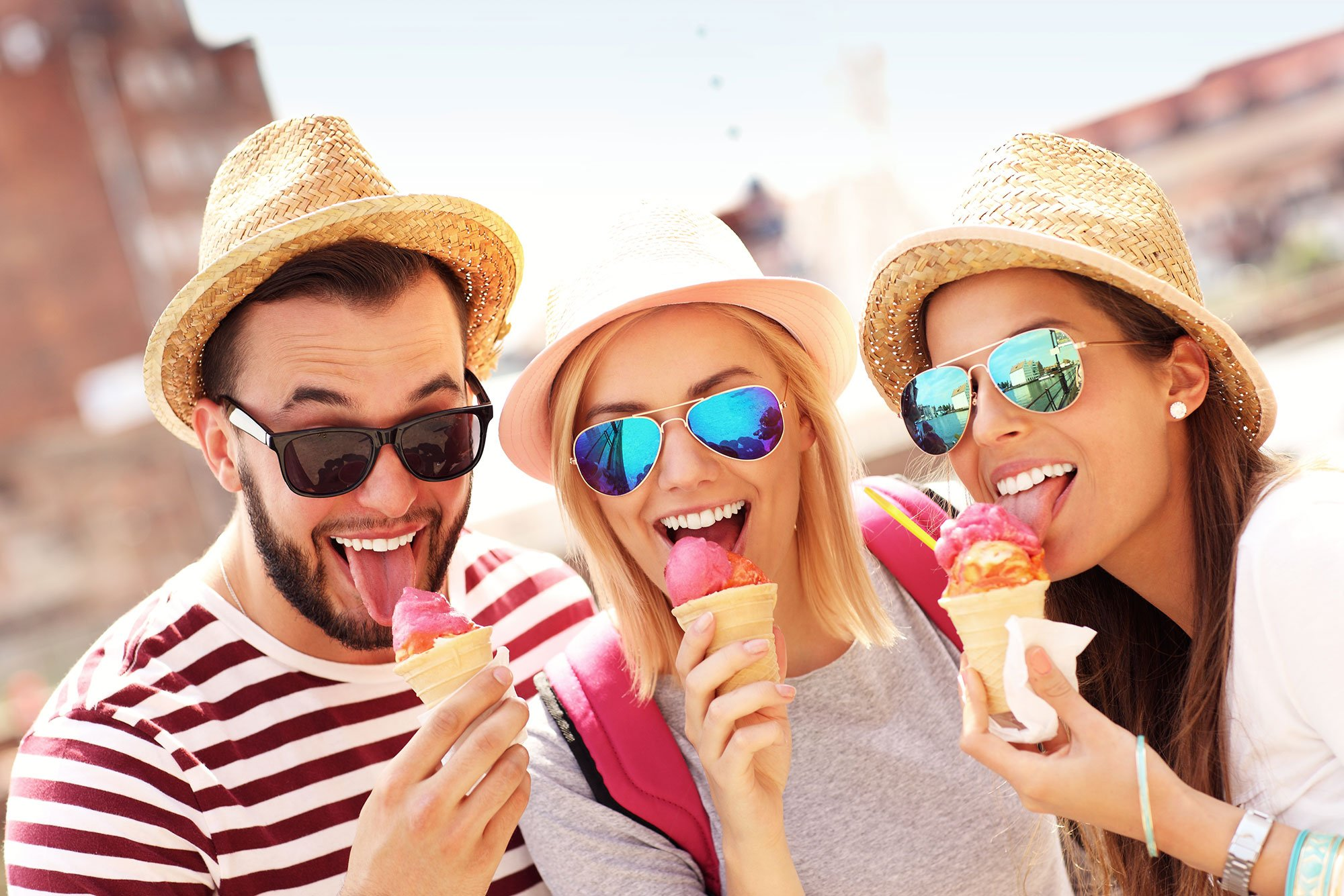 Friends enjoying ice cream cones