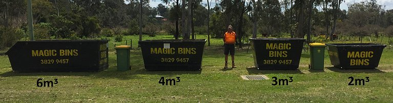 row of smaller bins