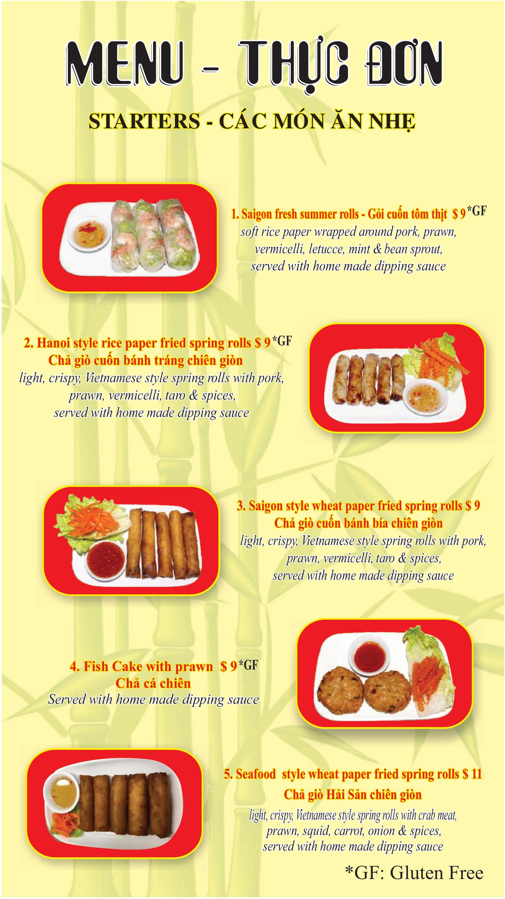 Starters menu