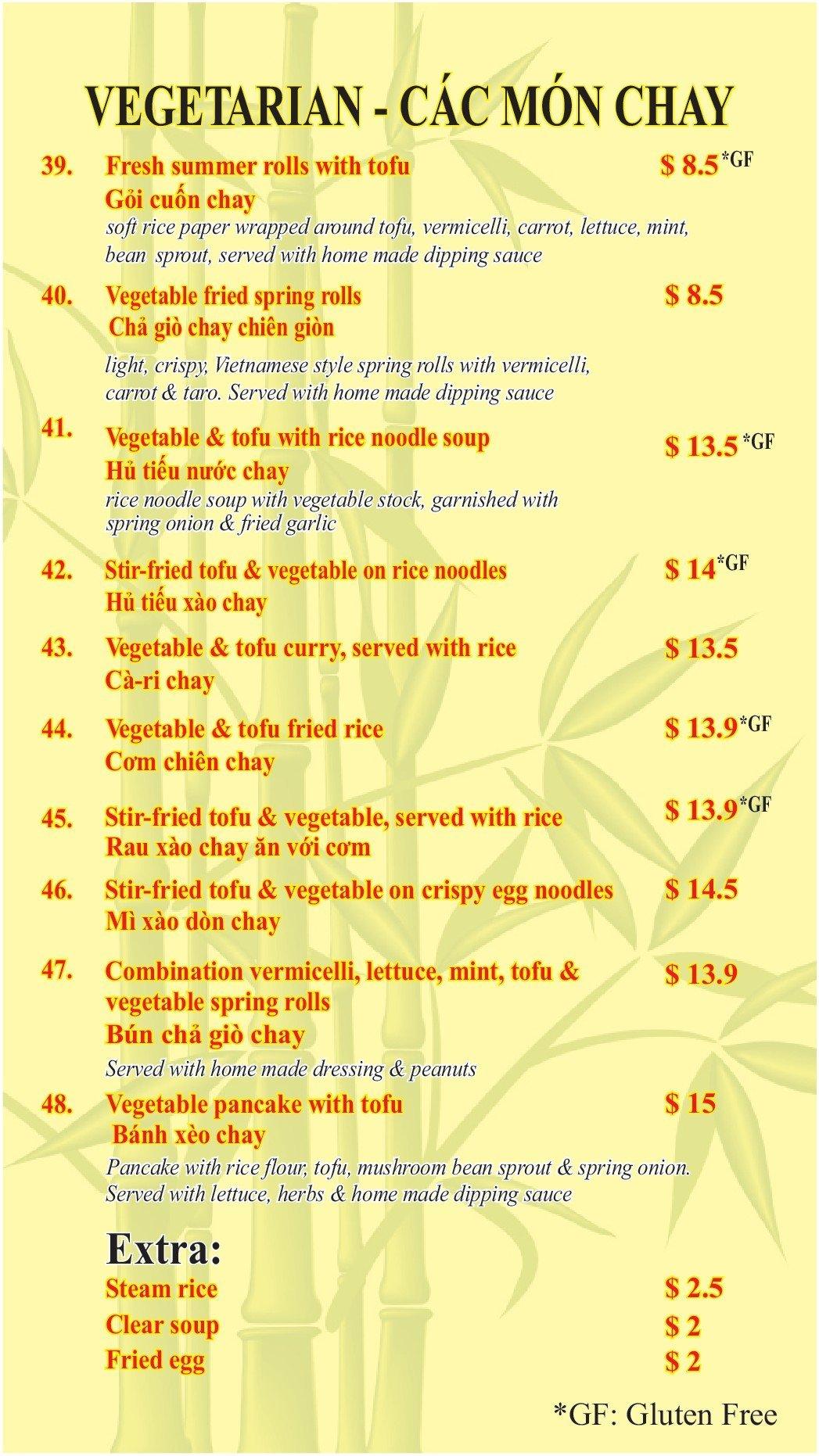 Vegetarian dish menu