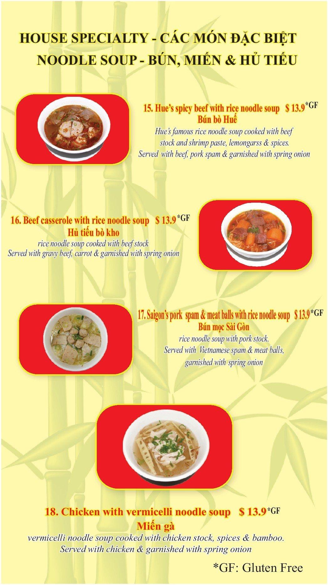 Specialty noodle soup dish menu