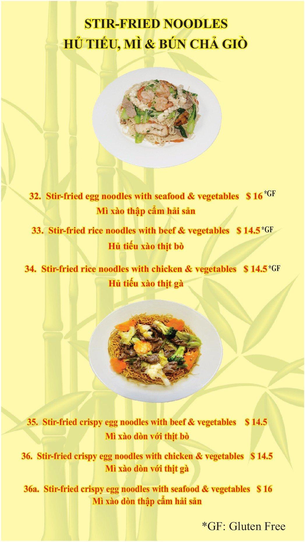 Stir fried noodles menu