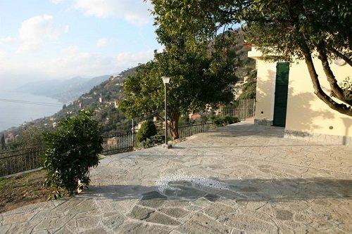 vista di un piazzale in pietra con alberi
