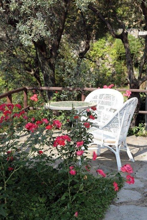 vista di tavolino con due sedie con fiori di rosa accanto