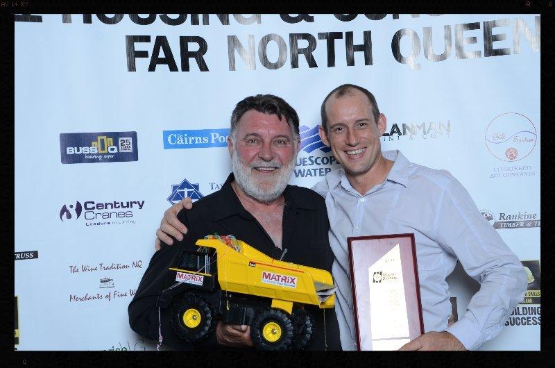 Karl Maxa & Dennis 'Brazakka' Wallace at the Qld Master Builders Awards