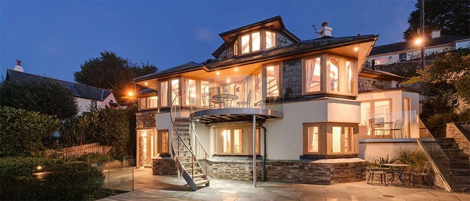 house with bright lights
