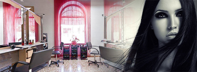 Vista interni del centro estetico con foto di modella in primo piano