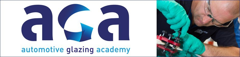 Close-up of the Independent Windscreen Academy logo