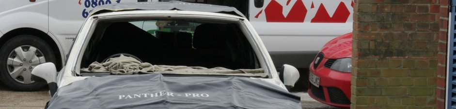 A car with its windscreen removed