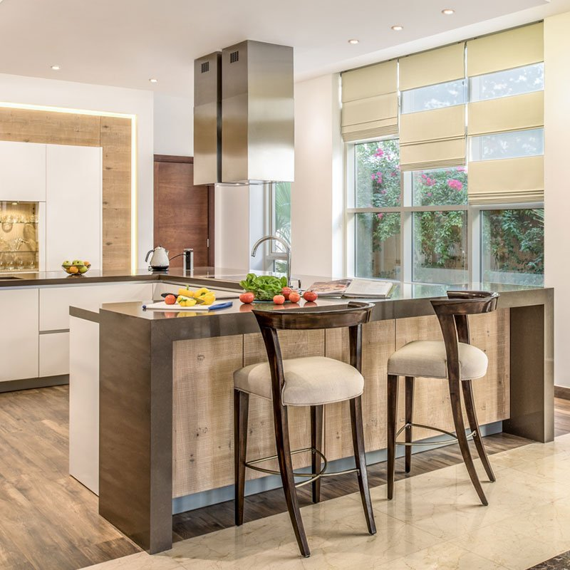 modern kitchen with chairs