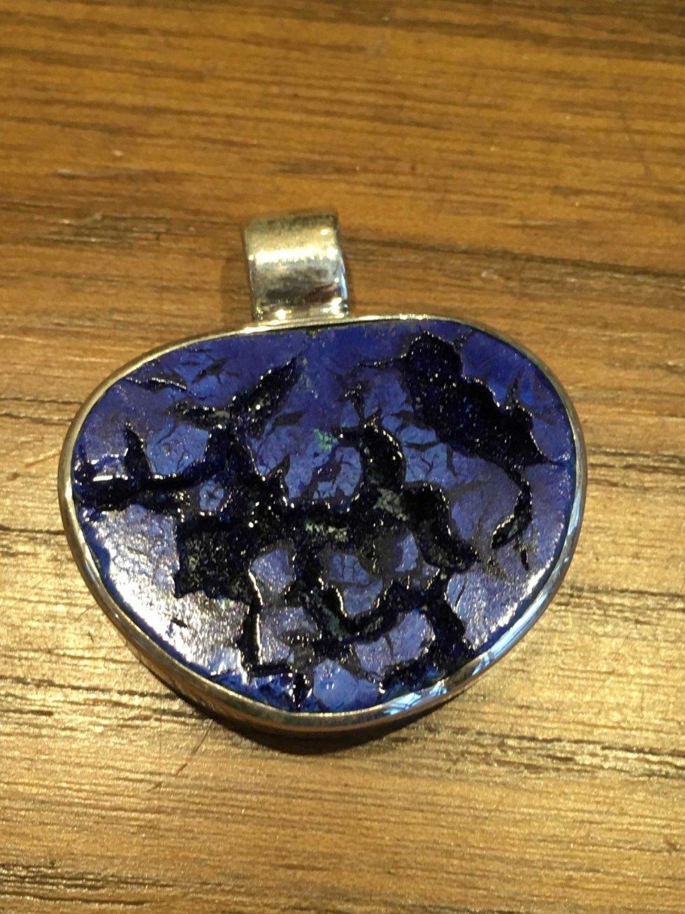 Ciondolo in argento con azzurrite
