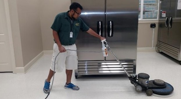 commercial floor buffing and waxing