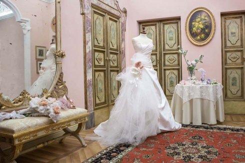 abito da sposa in tulle di seta