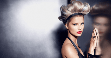 A model with modern platinum hairstyle