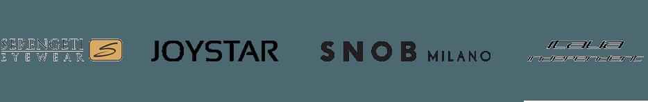 loghi serengeti, joystar, snob, italia independent