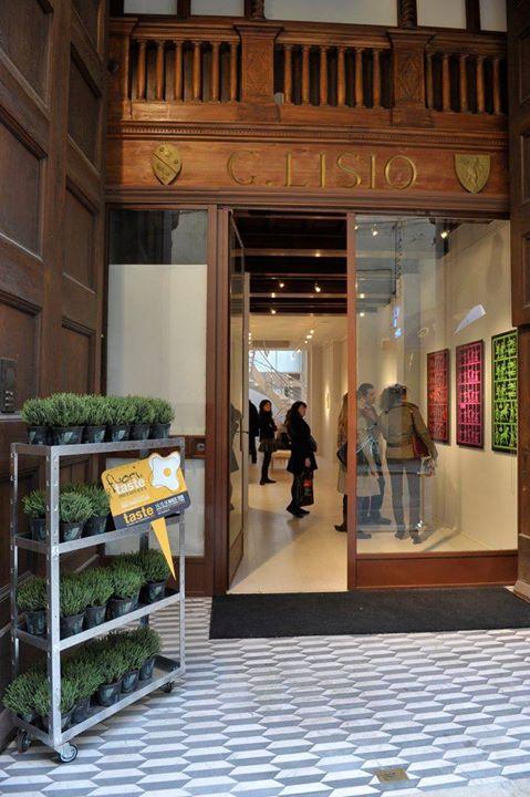 Vista laterale di scaffale con piante e entrata di un negozio
