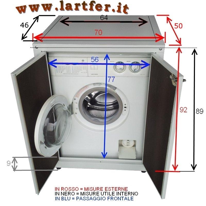 Coprilavatrice con disegno di misure e dimensioni