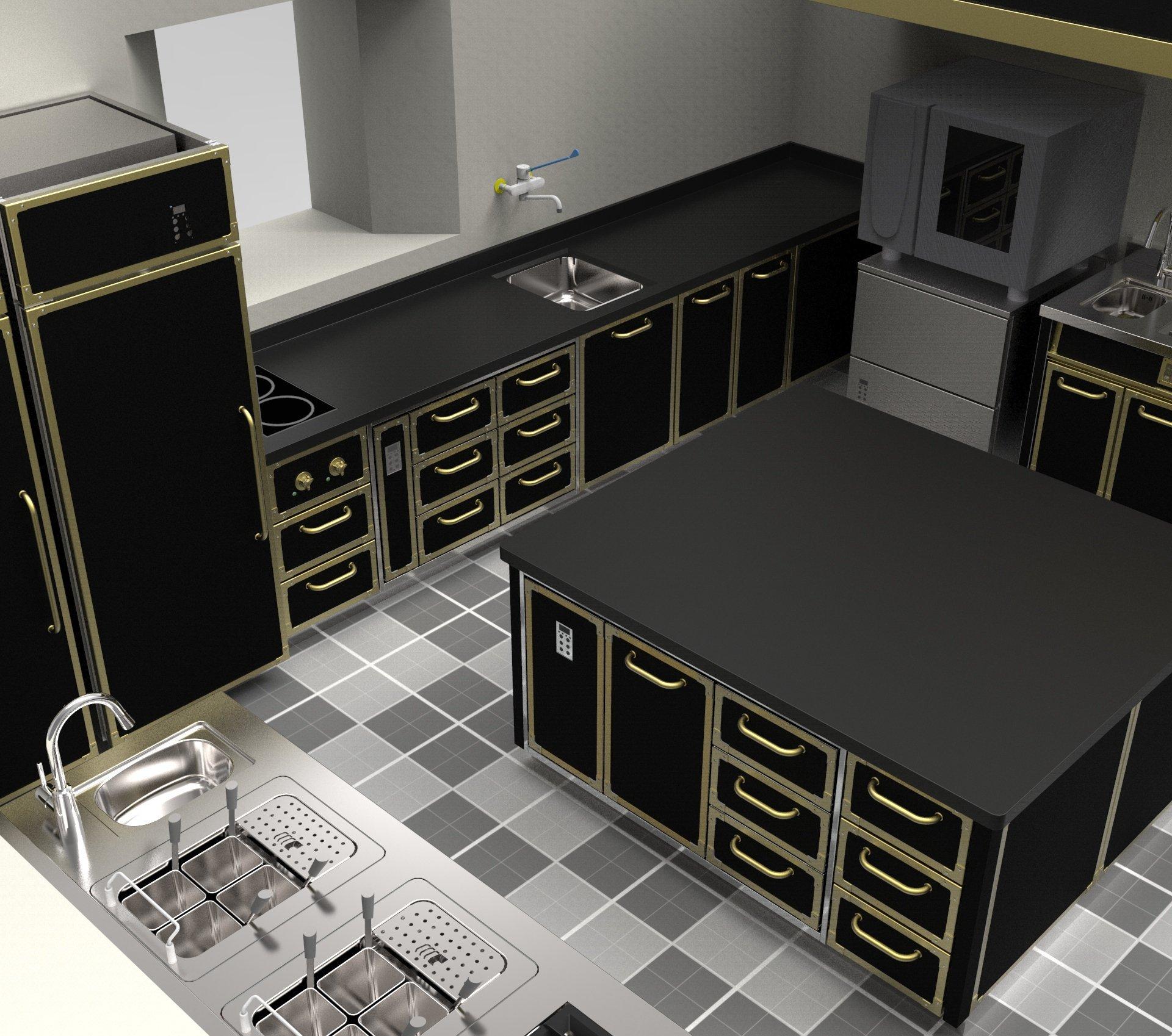 dei mobili di una cucina professionale