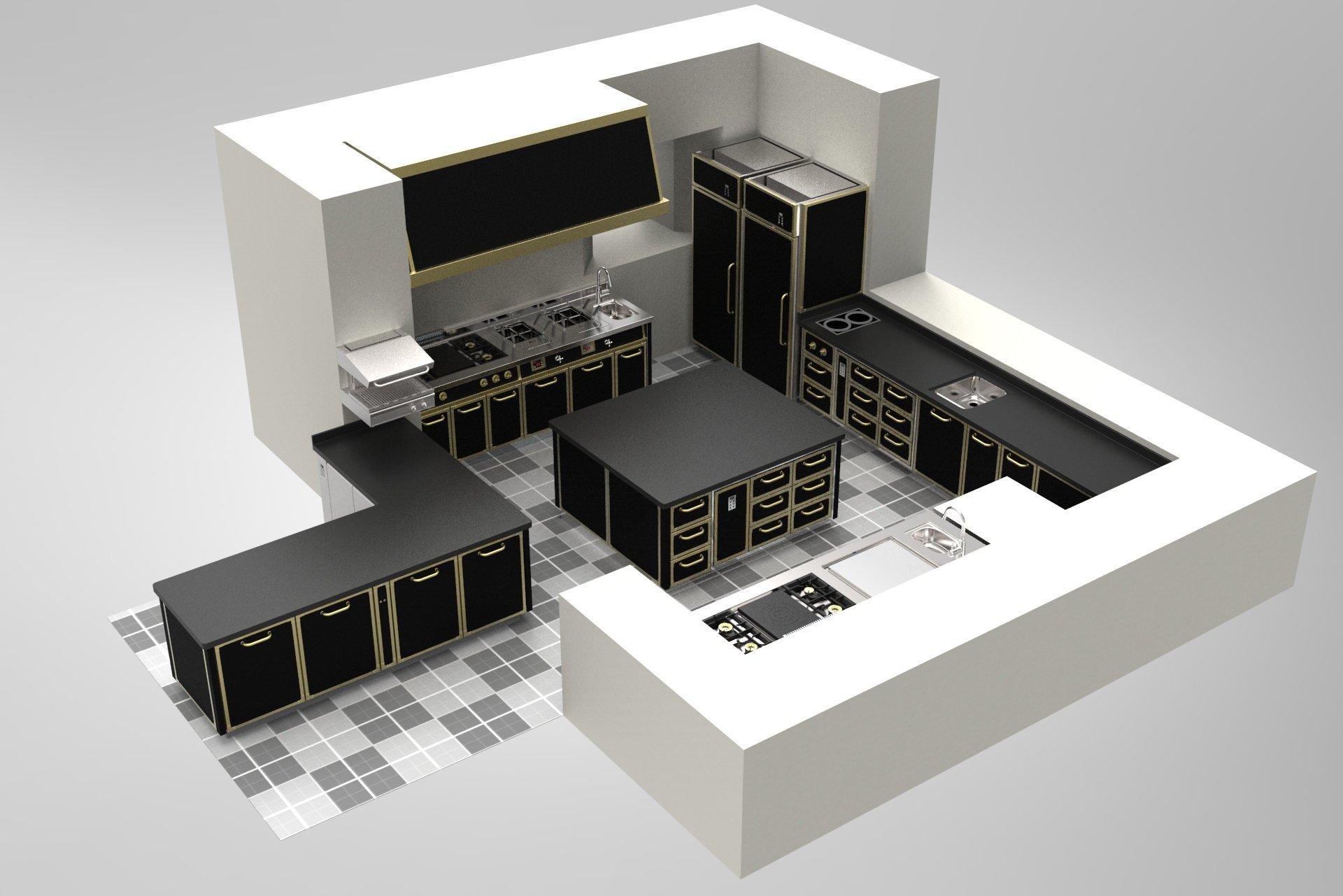 un modellino di una cucina professionale con mobili neri
