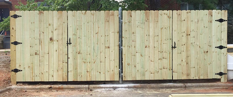 Custom Wooden Fence with Doors