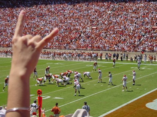 fans at a university of texas game