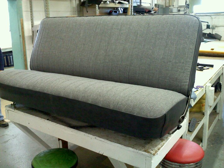Old rear car seat restored after upholstery in Albuquerque, NM