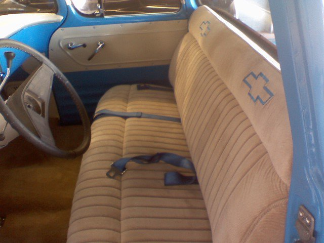 Classic chevy car seat after upholstery