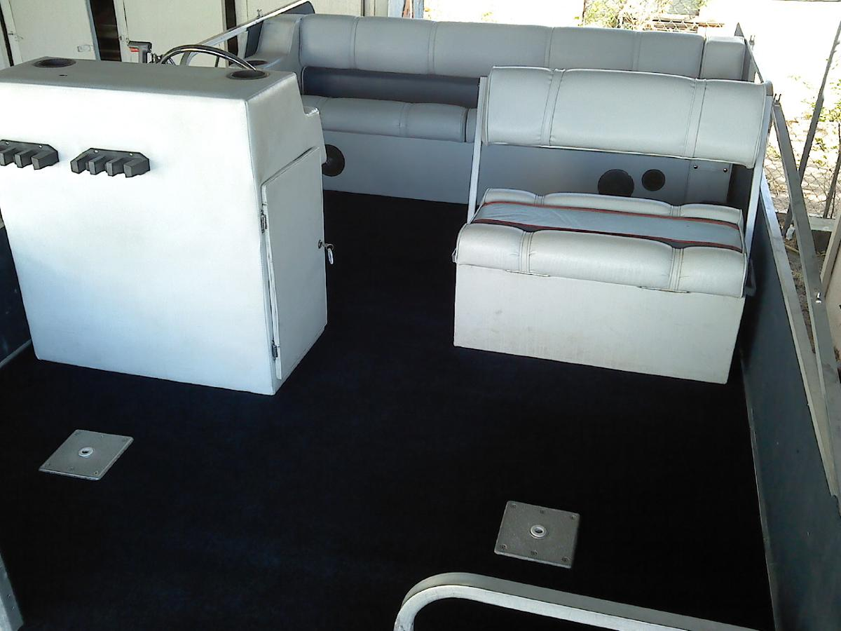 Motorboat after seats had leather upholstery