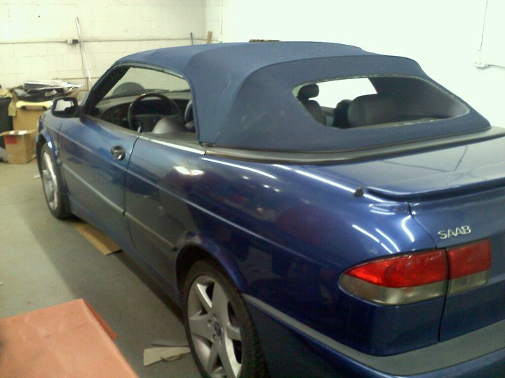 blue Saab convertible after convertible top repair