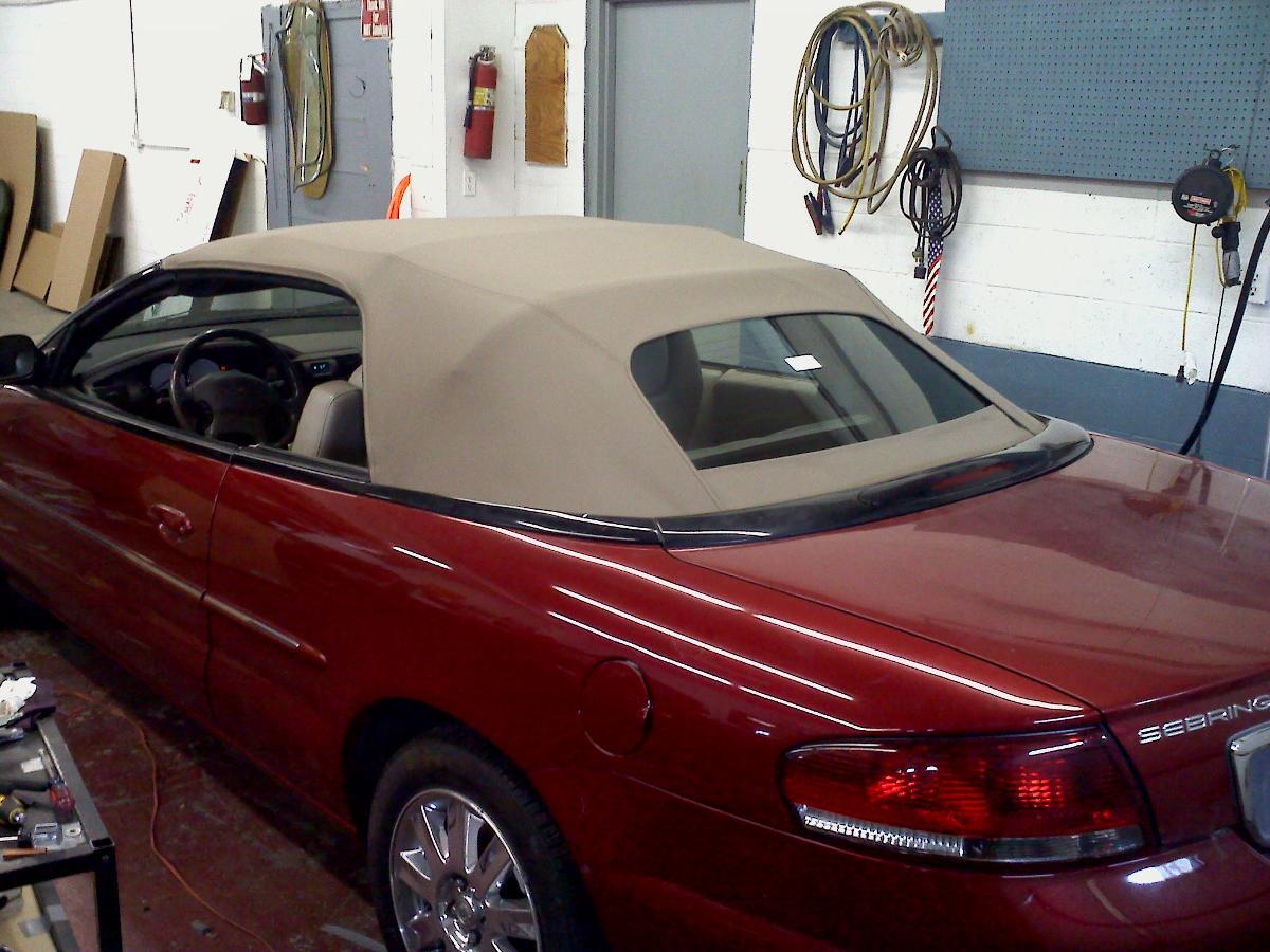 red sebring convertible after soft top repair