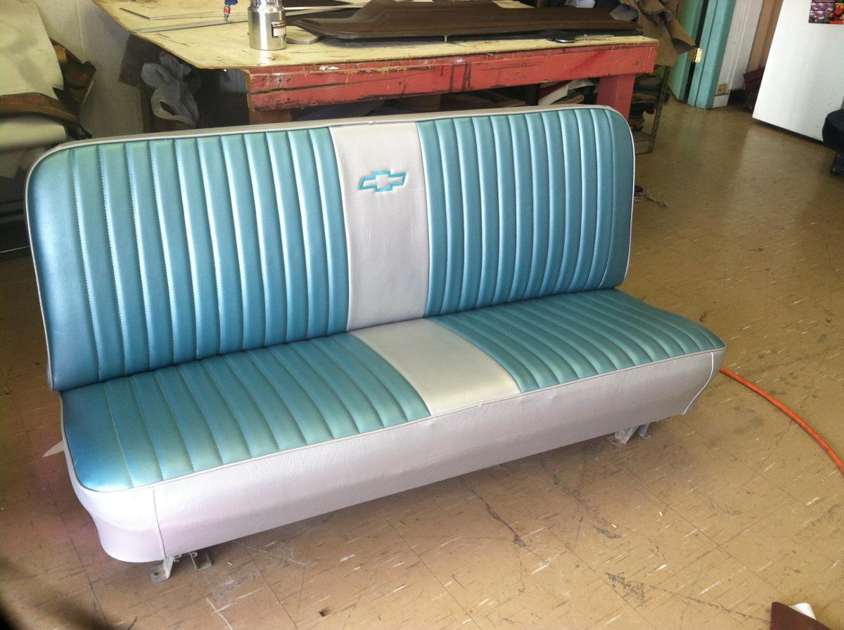blue classic chevy car seat after upholstery