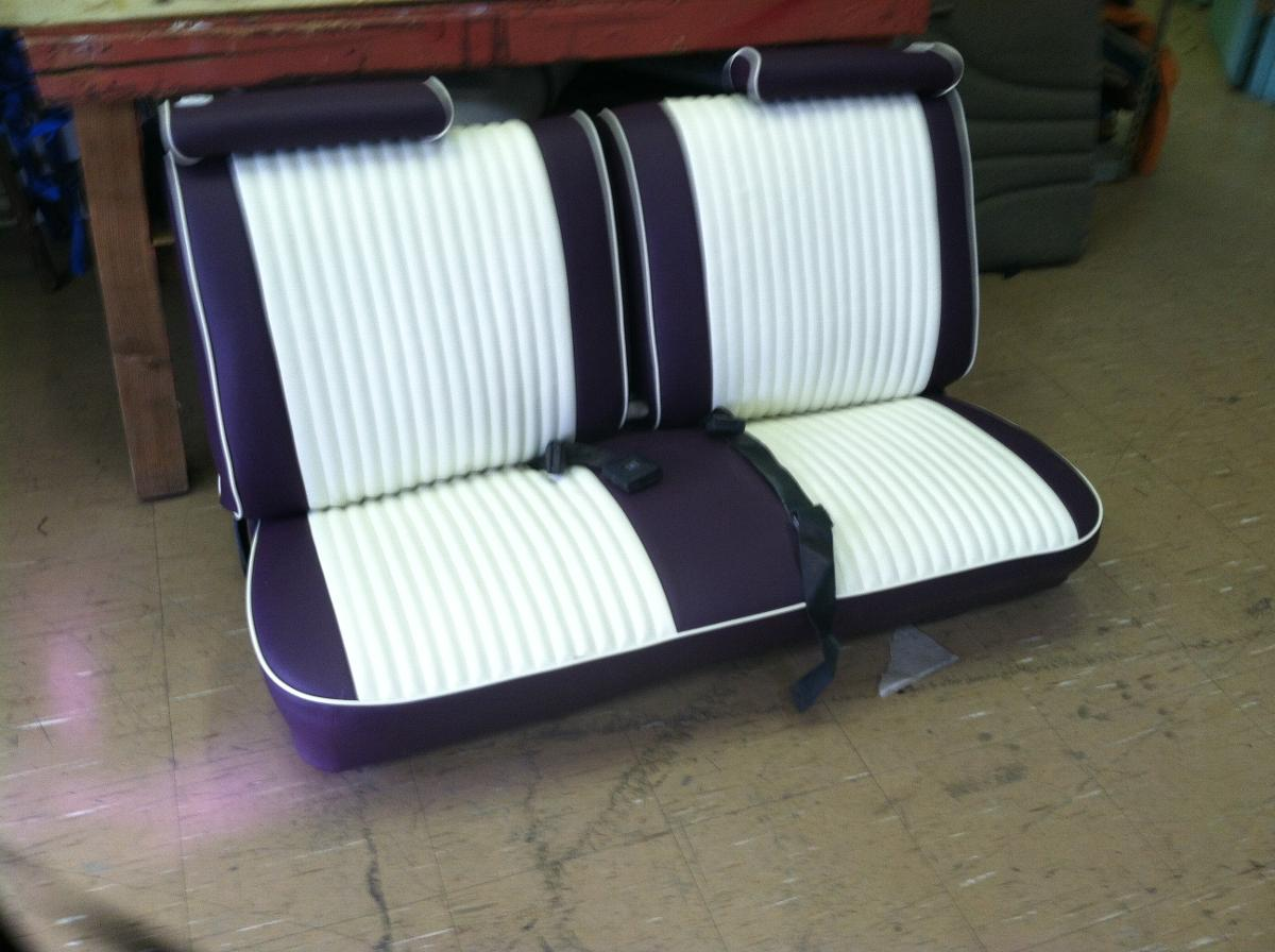 purple and white leather car seat after auto upholstery in santa fe, NM