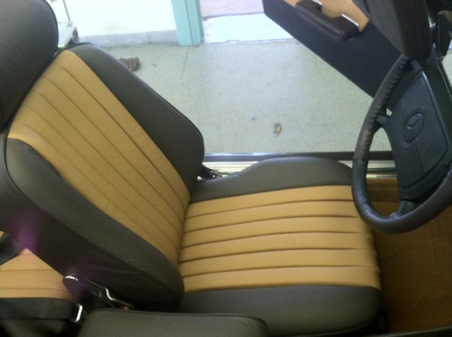 Mercedes Benz leather car seat after leather upholstery in Santa Fe, NM