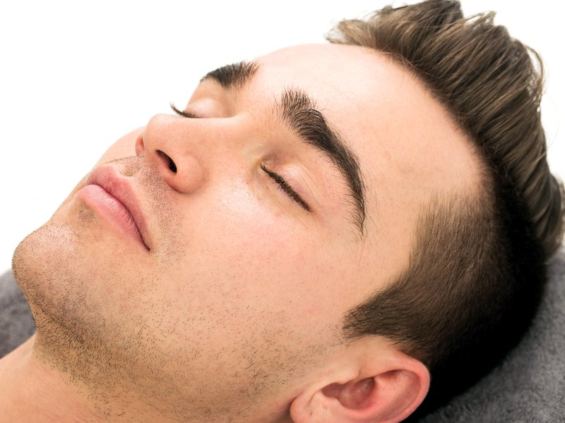 Male brow waxing client