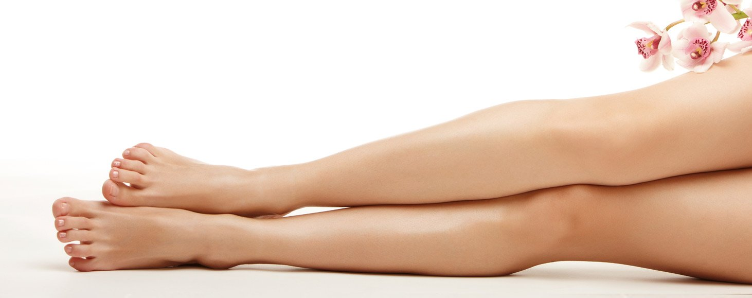 female legs after waxing