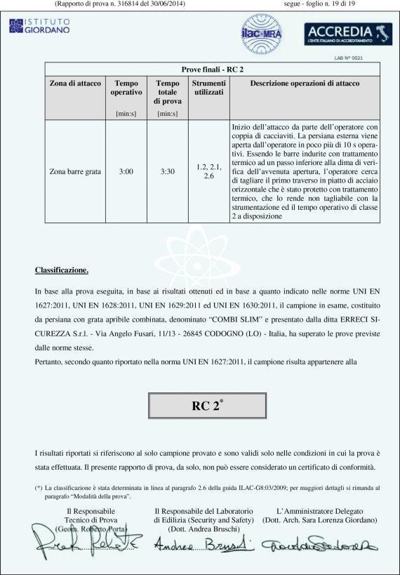 un certificato di classificazione RC 2