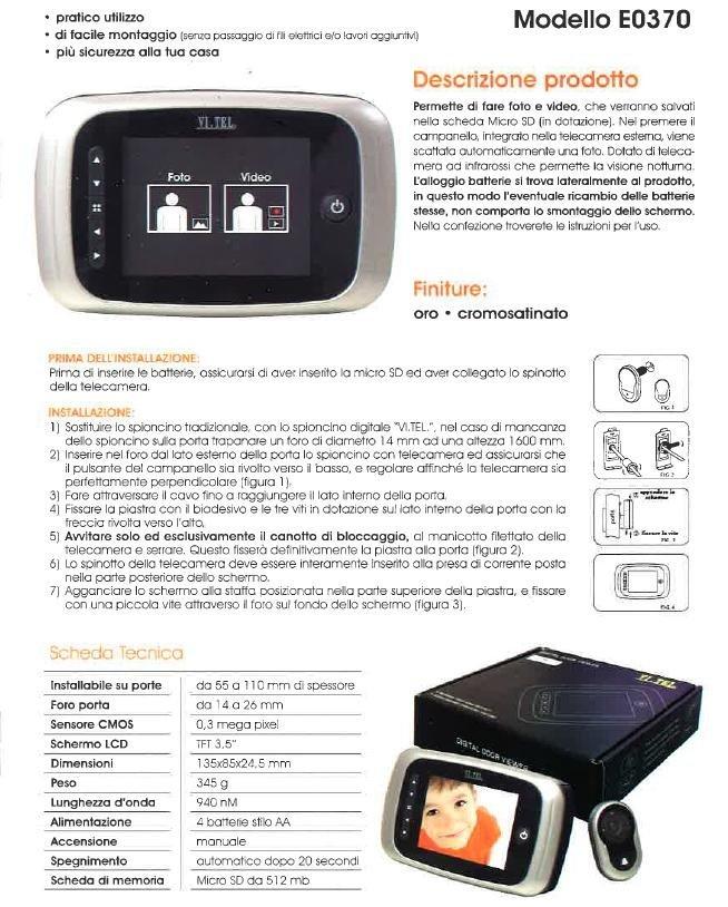 un sistema di sicurezza modello Modello EO 370