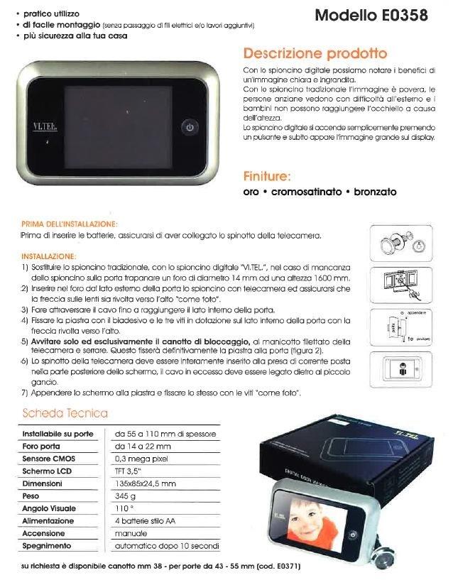 un sistema di sicurezza modello Modello EO 358