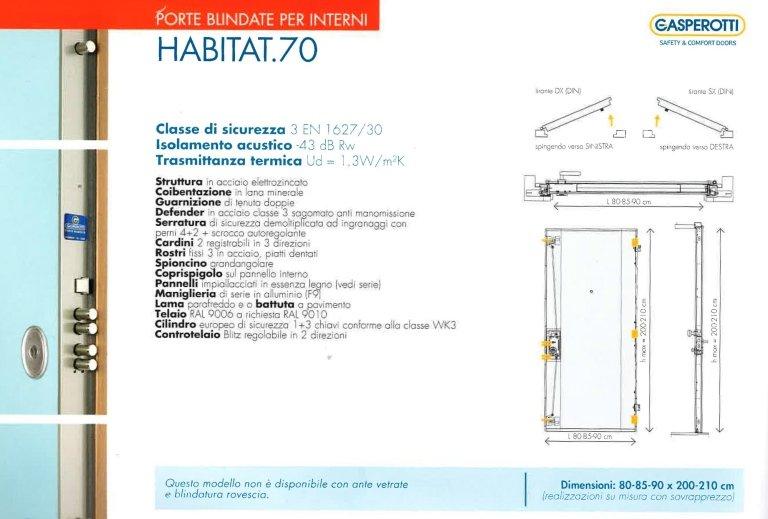 una porta blindata per interno modello Habitat.70